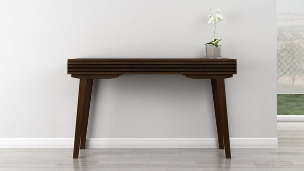 "Furnitech 54"" Mid-Century Modern Sofa Table In A Cognac TANGO-DT"