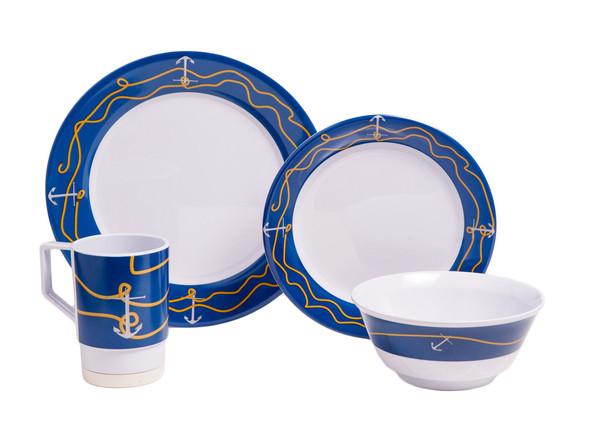 1005-L 24 Anchorline 24 Piece Melamine Non-skid Dinnerware Set