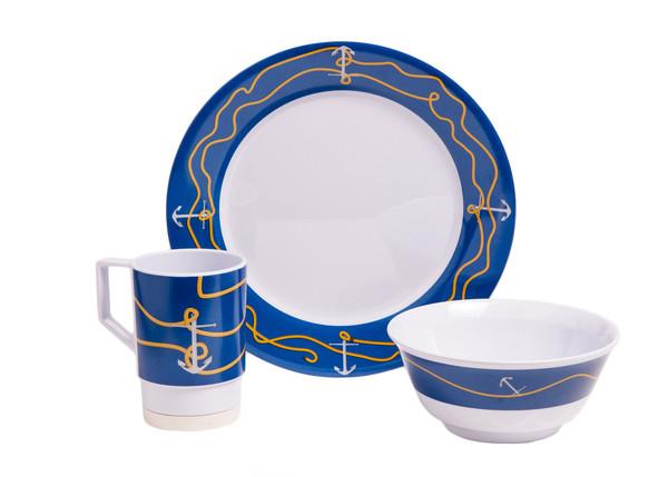 1005-S 12 Anchorline 12 Piece Melamine Non-skid Dinnerware Set