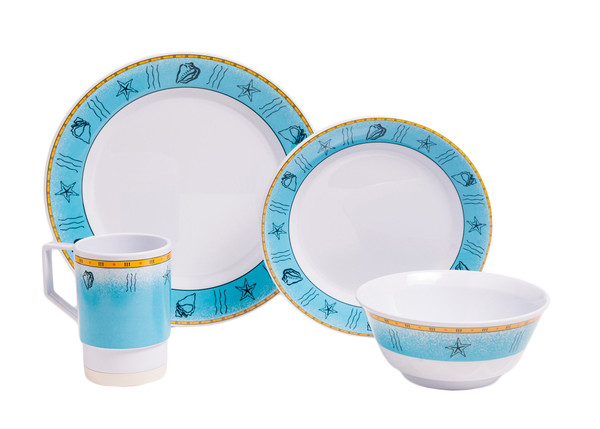 1012-L 16 Offshore 16 Piece Melamine Non-skid Dinnerware Set