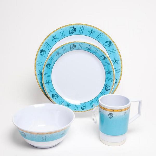 1012-L 24 Offshore 24 Piece Melamine Non-skid Dinnerware Set