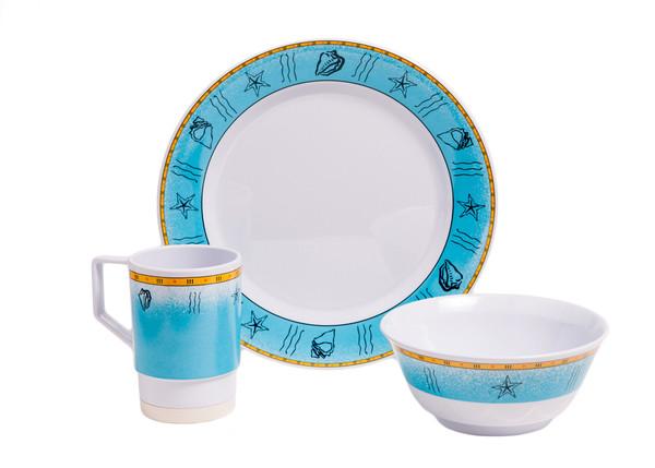 1012-S 12 Offshore 12 Piece Melamine Non-skid Dinnerware Set