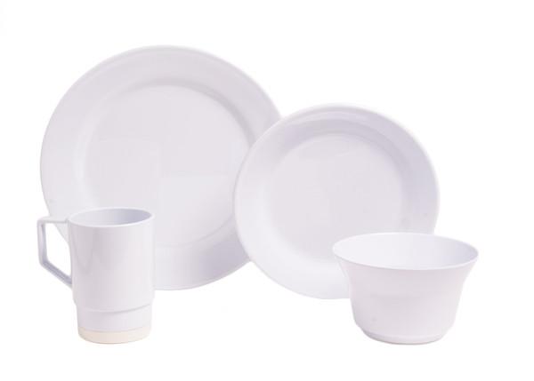 1025-L 24 Galleyware White 24 Piece Melamine Non-skid Dinnerware Set