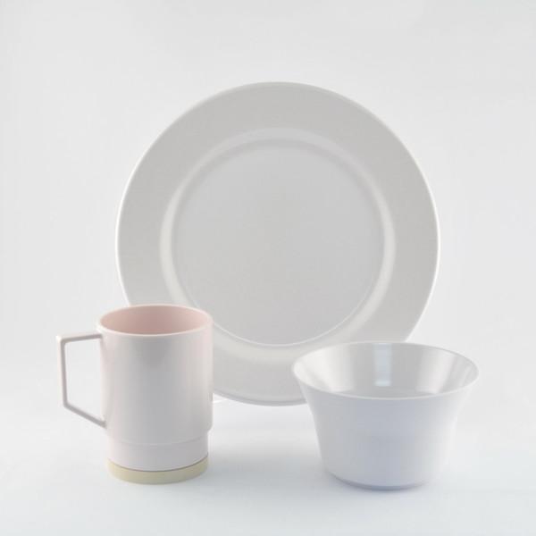 1025-S 12 Galleyware White 12 Piece Melamine Non-skid Dinnerware Set