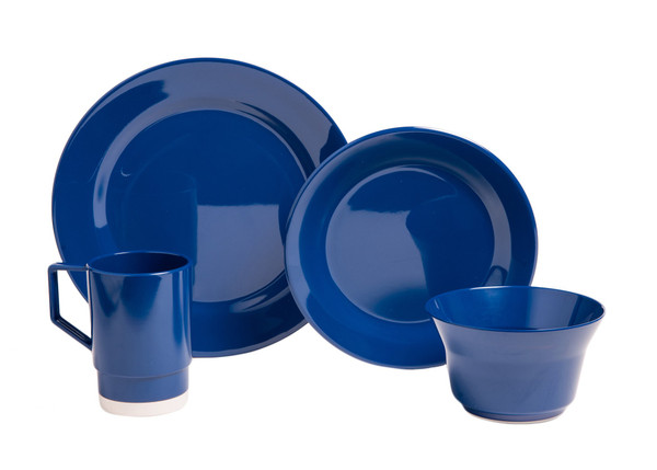 1027-L 16 Galleyware Blue 16 Piece Melamine Non-skid Dinnerware Set
