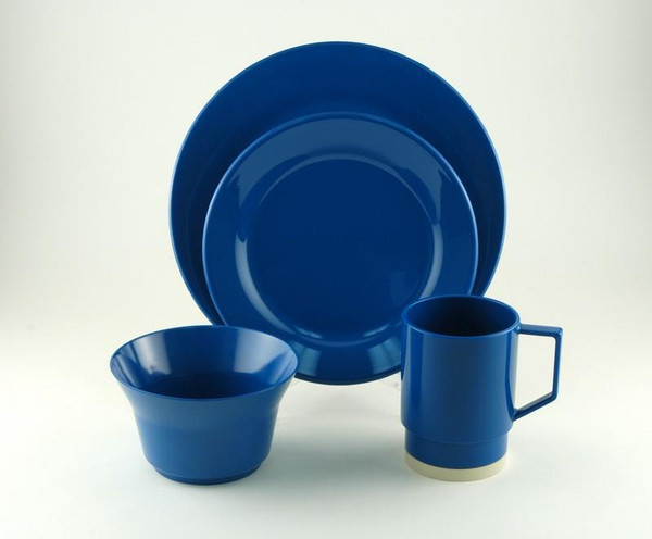 1032-L 16 Royal Blue 16 Piece Melamine Non-skid Dinnerware Set