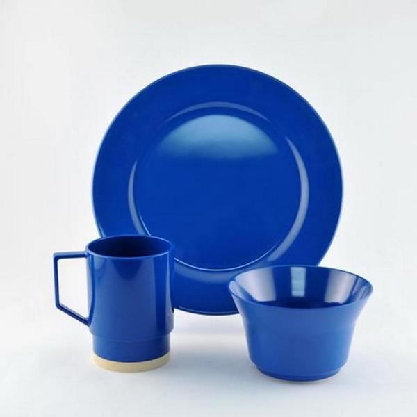 1032-S 12 Royal Blue 12 Piece Melamine Non-skid Dinnerware Set