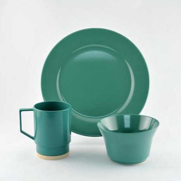 1033-S 18 Galleyware Seafoam 18 Piece Melamine Non-skid Dinnerware Set
