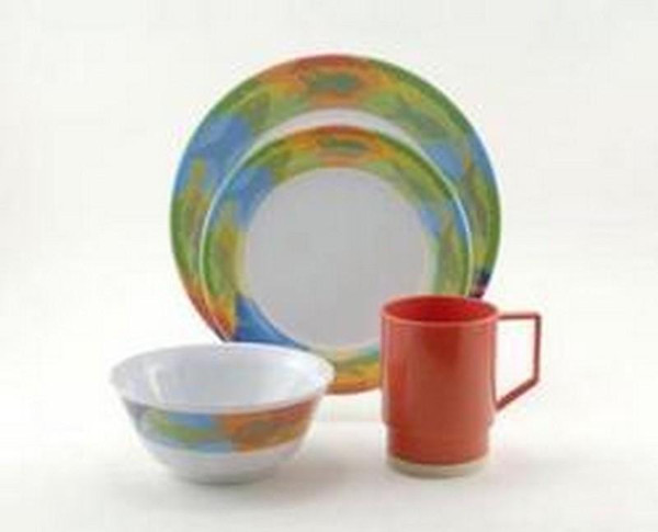 1038-L 16 Galleyware Calypso 16 Piece Melamine Non-skid Dinnerware Set