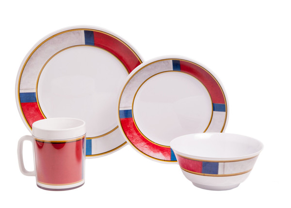 1072-L 16 Life Preserver 16 Piece Melamine Non-skid Dinnerware Set