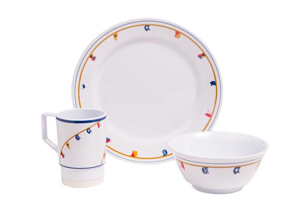 1074-S 12 Galleyware Flags 12 Piece Melamine Non-skid Dinnerware Set