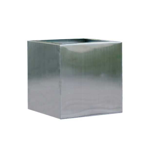 """18"""" Square Decorative Cube - Brushed Stainless Steel 8761"""