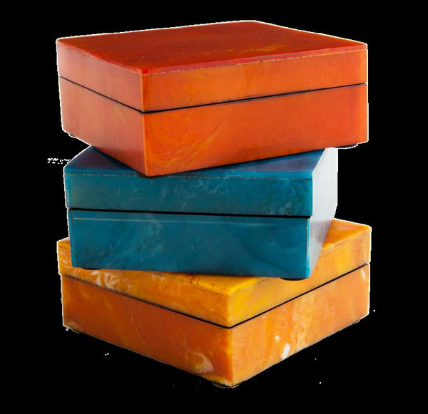 """3.75"""" Square Resin Agate Box (Pack Of 2) RE2158 by Gold Leaf"""