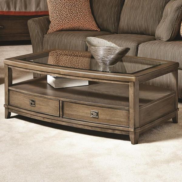 Hammary Furniture Park Studio Oak Rectangular Cocktail Table 488-910