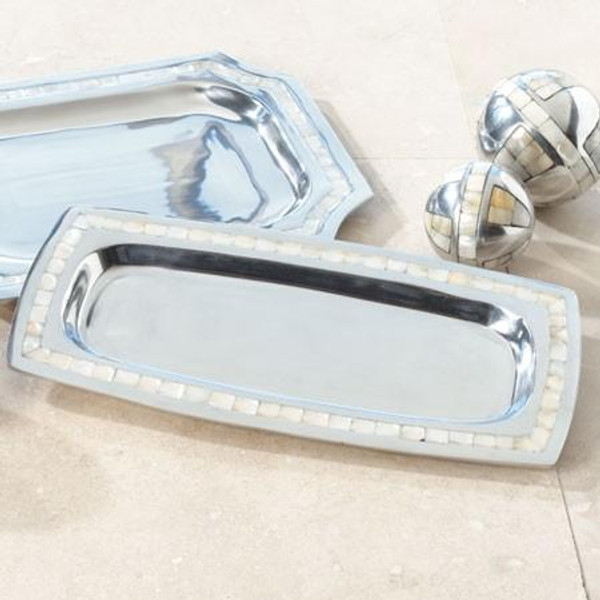 11131 Rectangle Tray With Pearl (Pack Of 4)