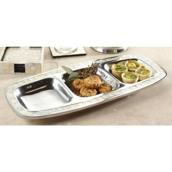 11184 Pearl 3-Sectioned Tray (Pack Of 3)