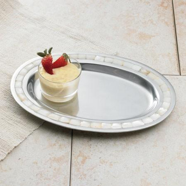 11221 Pearl Inlay Oval Tray (Pack Of 6)