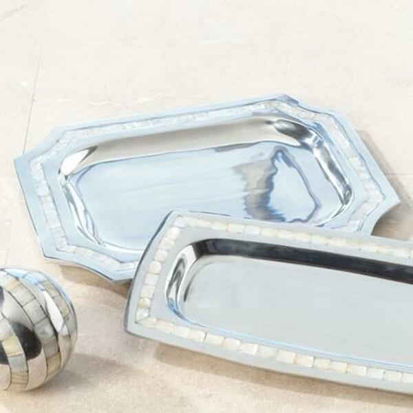 11222 Elegant Square Pearl Tray (Pack Of 3)