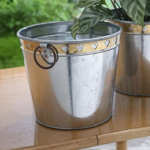 11314 Galvanized Bucket With Brass (Pack Of 12)