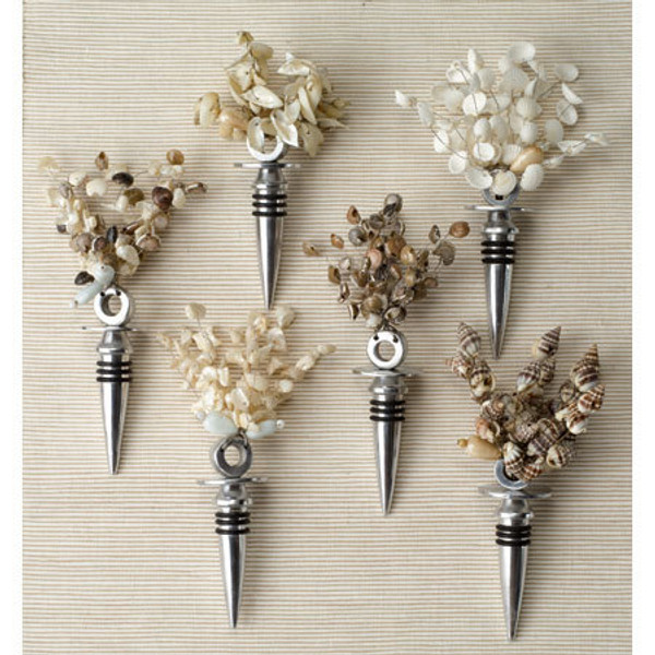 Shell Bottle Stopper Assorted 6, Pack Of 12 11899 By India Handicrafts