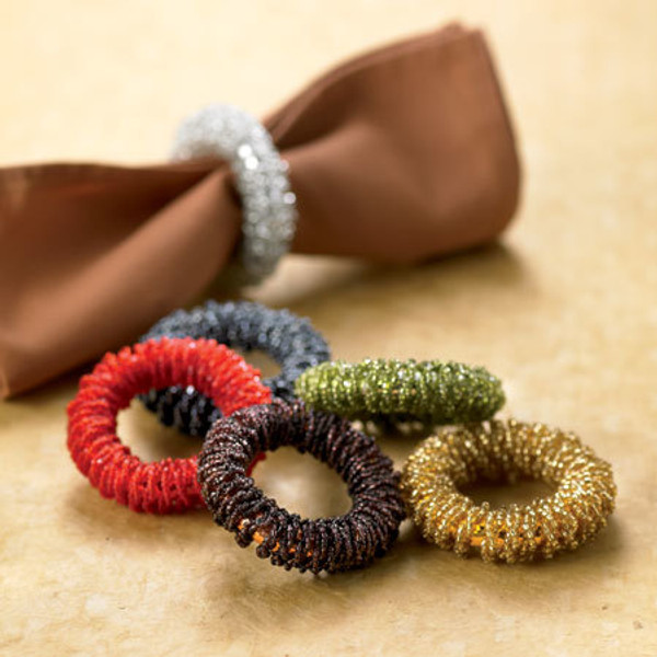 Beaded Napkin Ring Assorted 6, Pack Of 24 12833 By India Handicrafts