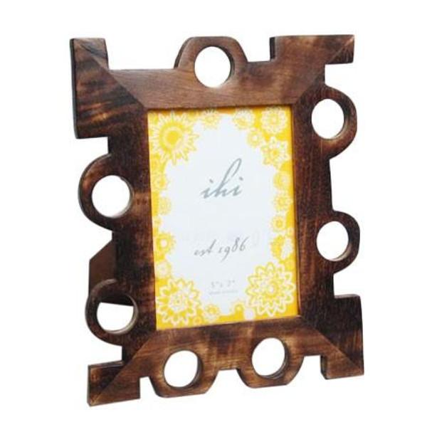 13296 Wood Geometric Photo Frame Large (Pack Of 6)