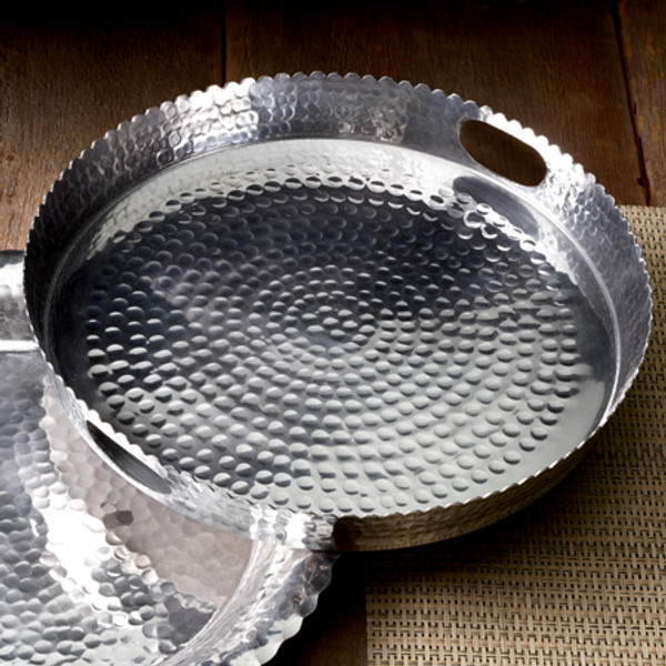 Hammered Round Handle Tray, Pack Of 3 13518 By India Handicrafts