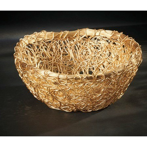 13842 Gilded Round Twist Basket (Pack Of 6)