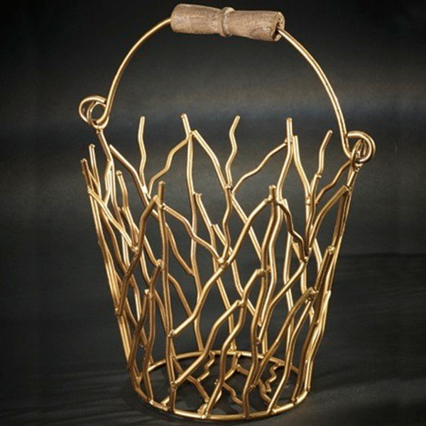 13945 Iron Gilded Basket (Pack Of 3)