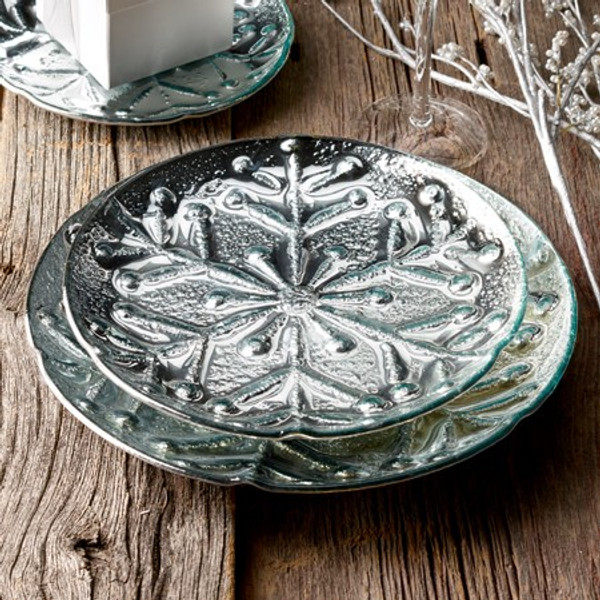 655432 Silver Snow Flake Trays Large (Pack Of 6)