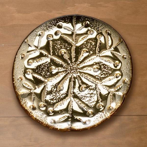 655801 Gold Snowflake Plate Medium (Pack Of 12)