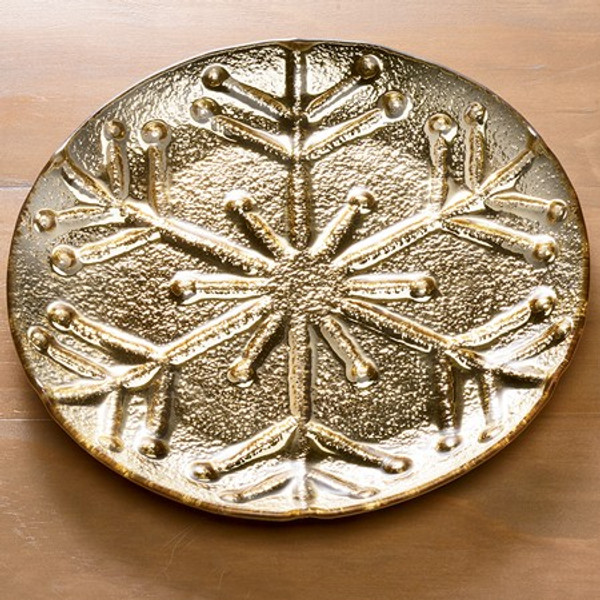 655802 Gold Snowflake Plate Large (Pack Of 4)