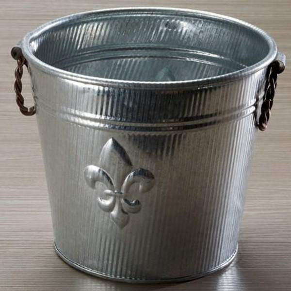 8604 Galvanized Fleur Ribbed Bucket (Pack Of 12)
