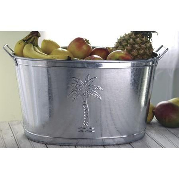 9428 Galvanized Palm Tree Bucket (Pack Of 6)