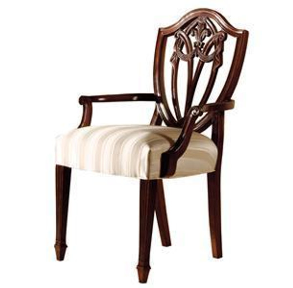 22521 Hekman Copley Place In White Stripe Fabric Arm Chair