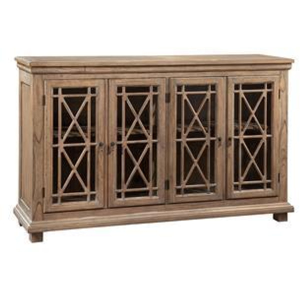 27299 Hekman Lattice Front Entertainment Console With Four Glass Doors