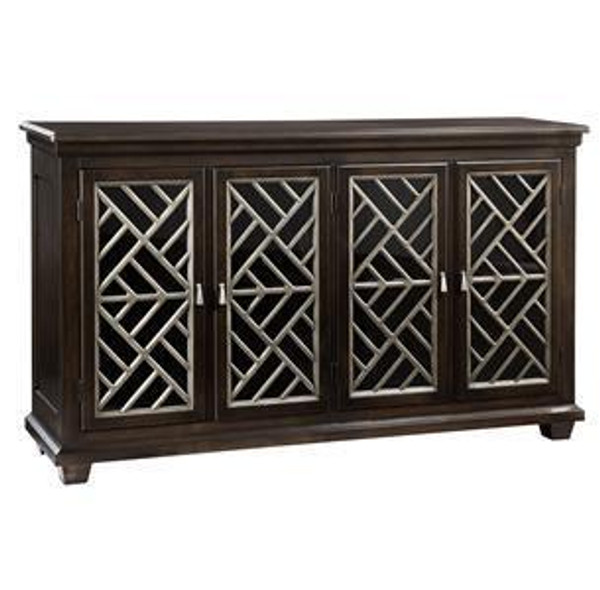 27300 Hekman Transitional Entertainment With Four Glass Doors Console
