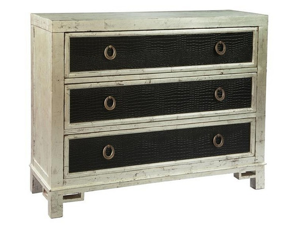 27517 Hekman Accents 3 Drawers Silver Leaf Hall Chest