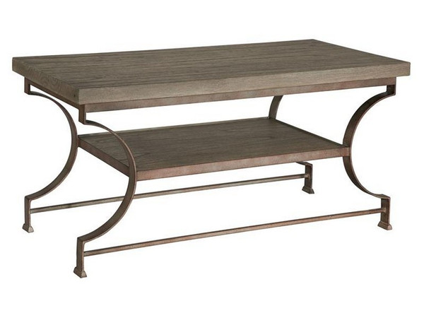 27518 Hekman Accents Iron Base With Wire Brushed Top Coffee Table