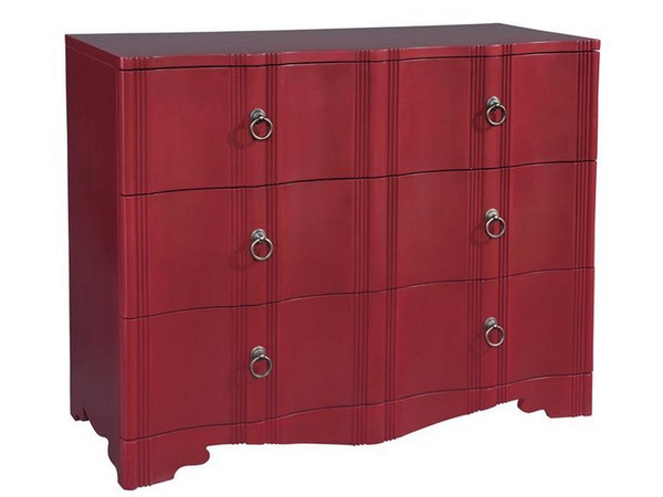 27617 Hekman Accents Red 3-Drawer Case With Shaped Front