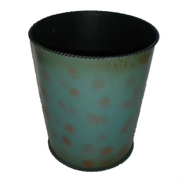 WB4000 Turquoise Rustic Waste Basket - by HiEnd Accents