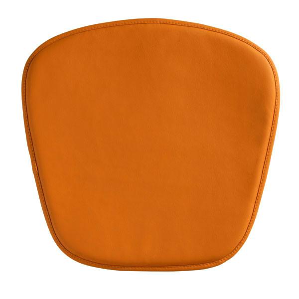 "Homeroots 17"" X 17"" X 0.5"" Orange Leatherette Wire Mesh Cushion Chair 248944"