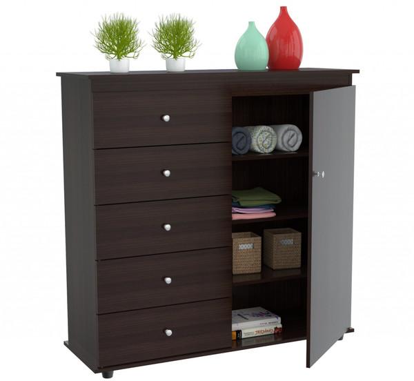 "Homeroots 47.2"" Espresso Solid Composite Wood Dresser 249848"