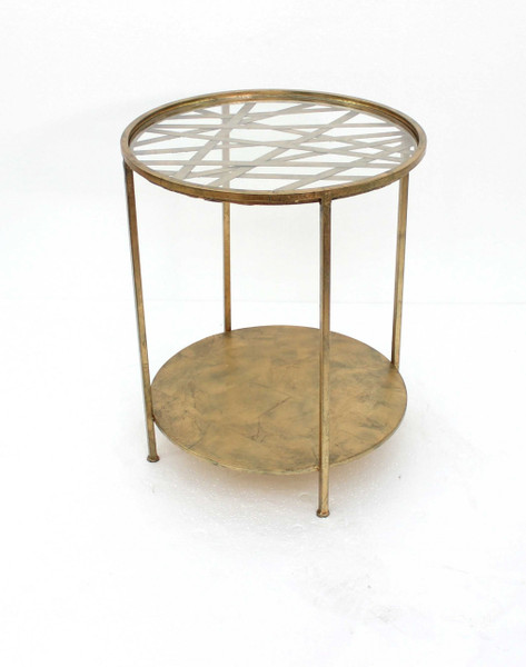 """Homeroots 20"""" X 20"""" X 24"""" Gold, Round, Rimmed Glass Top - End Table 274422"""
