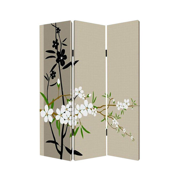 "Homeroots 1"" X 48"" X 72"" Multi-Color, Wood, Canvas Plum Blossom - Screen 274629"