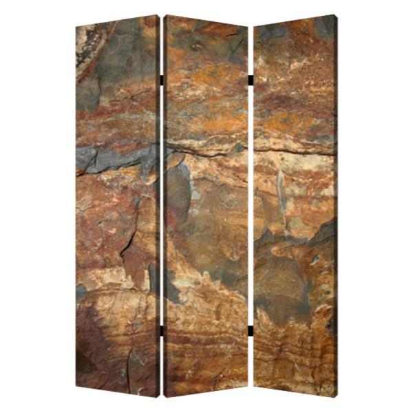 "Homeroots 1"" X 48"" X 72"" Multi-Color, Wood, Canvas, Dark Brown Slate - Screen 274665"