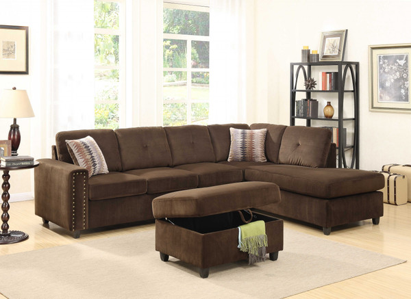 """Homeroots 79"""" X 33"""" X 36"""" Chocolate Velvet Reversible Sectional Sofa With Pillows 285950"""