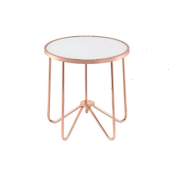 """Homeroots 22"""" X 22"""" X 22"""" Frosted Glass And Rose Gold End Table 286261"""