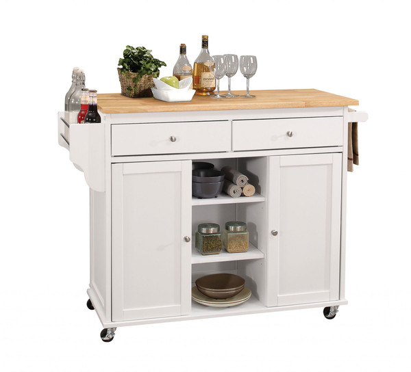 """Homeroots 47"""" X 18"""" X 34"""" Natural And White Kitchen Island 286672"""