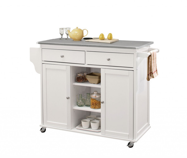 """Homeroots 47"""" X 18"""" X 34"""" Stainless Steel And White Kitchen Island 286673"""